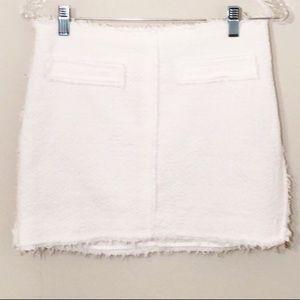 Zara white mini skirt w/frayed edging